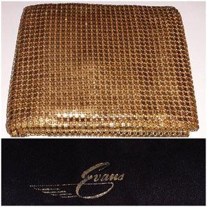 Evans vintage gold metallic mesh bifold wallet